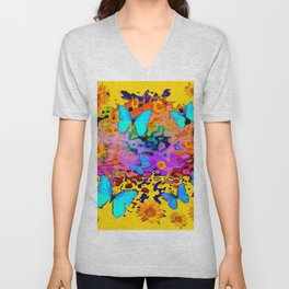 Yellow Floating Butterflies Flowers Dreamscape Unisex V-Neck