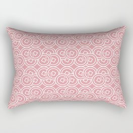 Ancient Chinese Money Stock Circle Geo Pattern Dusty Pink BG Rectangular Pillow
