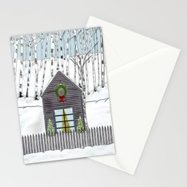 Christmas Cabin In The Snowy Woods Stationery Cards