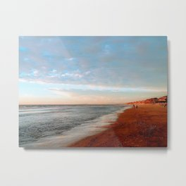 Winter Walk on the Beach Metal Print
