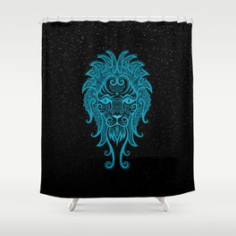 Blue Leo Zodiac Sign in the Stars Shower Curtain