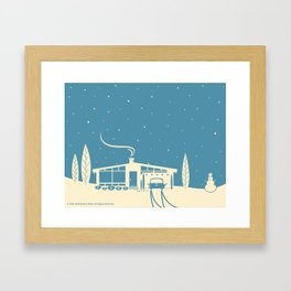 Mid-Century Snowscape in Blue Framed Art Print