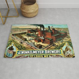 Vintage 1882 Julius Winkelmeyer Brewery St. Louis Lithograph Wall Art Advertisement Art Print Rug
