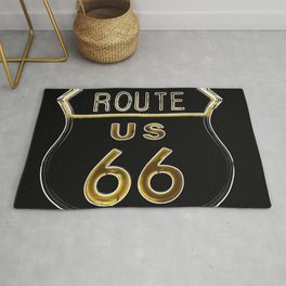 Route 66 American Road Sign Neon Rug