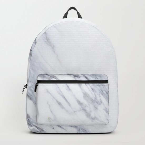 White Marble with Classic Black Veins Backpack
