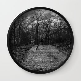 Reaching the trees, black and white Wall Clock