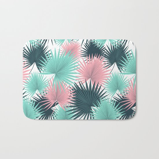 Pastel Palm Leaves Bath Mat