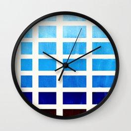 Watercolor Prussian Blue Minimalist Mid Century Modern Square Matrix Geometric Pattern Round Circle Wall Clock