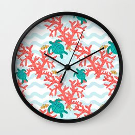 Clowning Around With Sea Turtles on The Reef Wall Clock