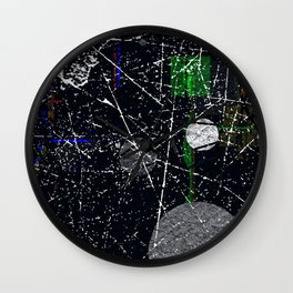 Abstract Black and White Etching Design Wall Clock