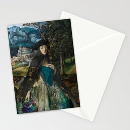 """""""Mystery woman in the forest among flowers"""" Stationery Cards"""