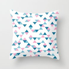 Triangles Blue and Pink Throw Pillow