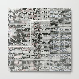 Crossing the Threshold of Sticky Potential (P/D3 Glitch Collage Studies) Metal Print