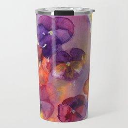 Spring watercolor flowers art colorful pansies Travel Mug