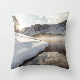 Yellowstone National Park - Bison tracks along the Madison River Throw Pillow