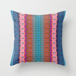 Glowing Coral, Magenta and Turquoise Zag Honeycomb Modern Stripes Throw Pillow