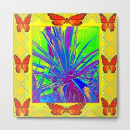 MODERN BLUE CACTUS & MONARCH BUTTERFLIES Metal Print