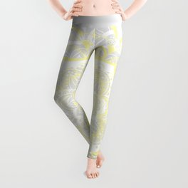 Woven Fantasy - Yellow, Grey & White Mandala Leggings