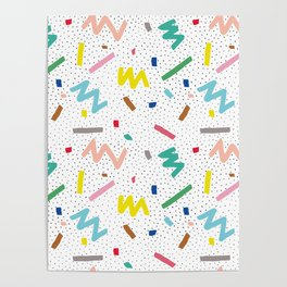 Memphis Pattern Stripes Zigzag and Blobs Poster