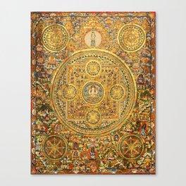 Buddhist Gold Avalokiteshvara Mandala Thangka Canvas Print