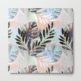 Tropical pattern on a colorful background. Metal Print