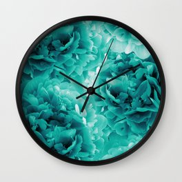 Turquoise Peonies Dream #1 #floral #decor #art #society6 Wall Clock