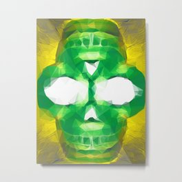 psychedelic skull art geometric triangle abstract pattern in green yellow Metal Print