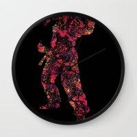 street fighter Wall Clocks featuring Street Fighter Dan by vanityfacade