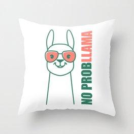 Llama, Alpaca design. No ProbLlama trendy gift. Throw Pillow