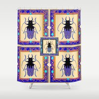 insects Shower Curtains featuring Beetle Insects Art Design in Purple,turquoise & Cream Colors by SharlesArt