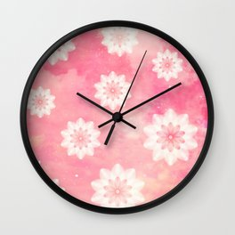 Pink sky and flowers Wall Clock