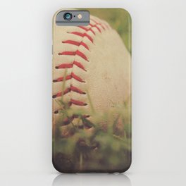 Used Baseball in Grassy Field wth Aged Effect iPhone Case