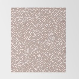 Little wild cheetah spots animal print neutral home trend warm dusty rose coral Throw Blanket