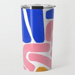 Colorful Minimalist Mid Century Modern Shapes Pink Ultramarine Blue Yellow Ochre Tribal Maze Pattern Travel Mug