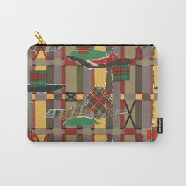 Pierced, Torn & Stitched Tartan Plaid Carry-All Pouch