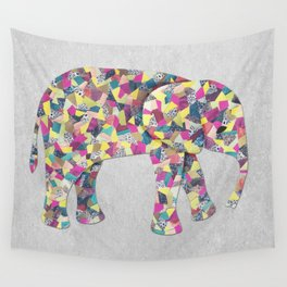 Elephant Collage in Gray Hot Pink Teal and Yellow Wall Tapestry