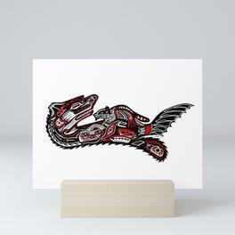 Haida Otter and Baby Mini Art Print