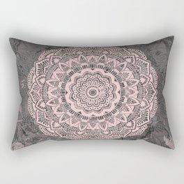 Pink lace mandala on gray Marble Rectangular Pillow