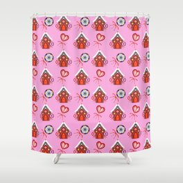 gingerbread houses, candy lollipops. Retro vintage cozy baby pink Christmas pattern Shower Curtain