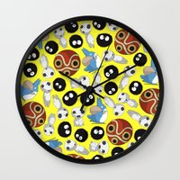 ghibli Wall Clocks featuring Ghibli Pattern by pkarnold + The Cult Print Shop