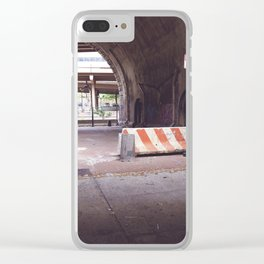 Under the Brooklyn Bridge, a Shutdown Skatepark Clear iPhone Case