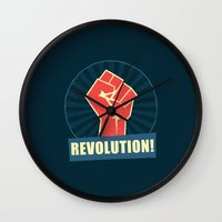 revolution Wall Clocks featuring REVOLUTION! by Word Quirk