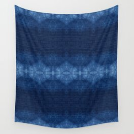 Quilted Indigo Triangles Wall Tapestry