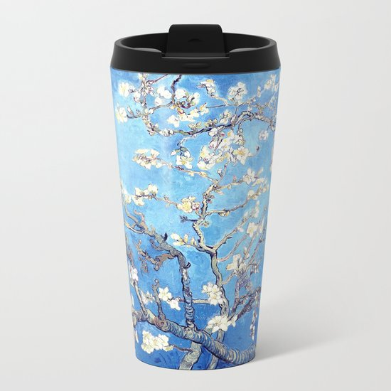 Vincent Van Gogh Almond Blossoms. Turquoise Metal Travel Mug