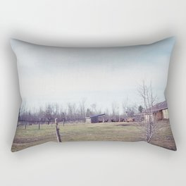 barn with horses, off the road Rectangular Pillow