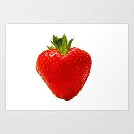 strawberry heart Art Print