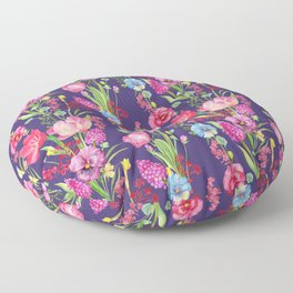 Tulips, Pansies, and Lilacs Floral Pattern on Purple Floor Pillow