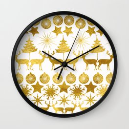 Gold Christmas 04 Wall Clock