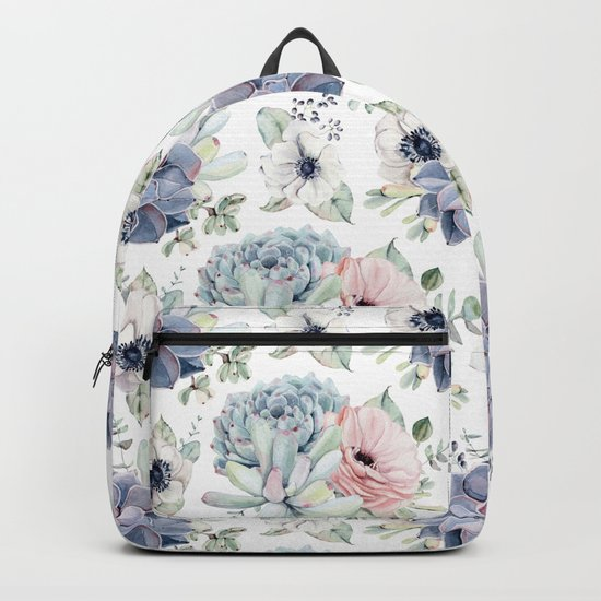 Succulents Blue + Rose Pink on White Backpack