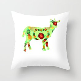 Green Florals And Red Throw Pillow